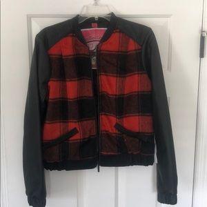 NWT Collection B by Bernardo plaid bomber jacket
